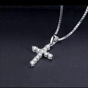 NEW Silver Zirconia Cross Necklace